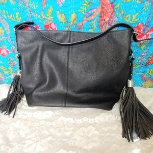 ASOS Pimkie Large Black Vegan Leather Tassel Bag